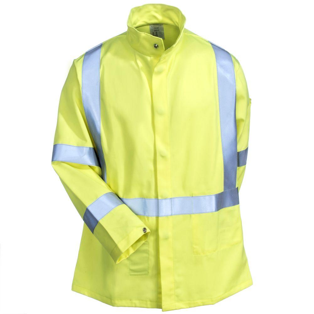 8eac33d36e91 Black Stallion Safety Men s JF1117 HY Hi Vis Yellow TruGuard 250 FR Cotton  Welding Jacket