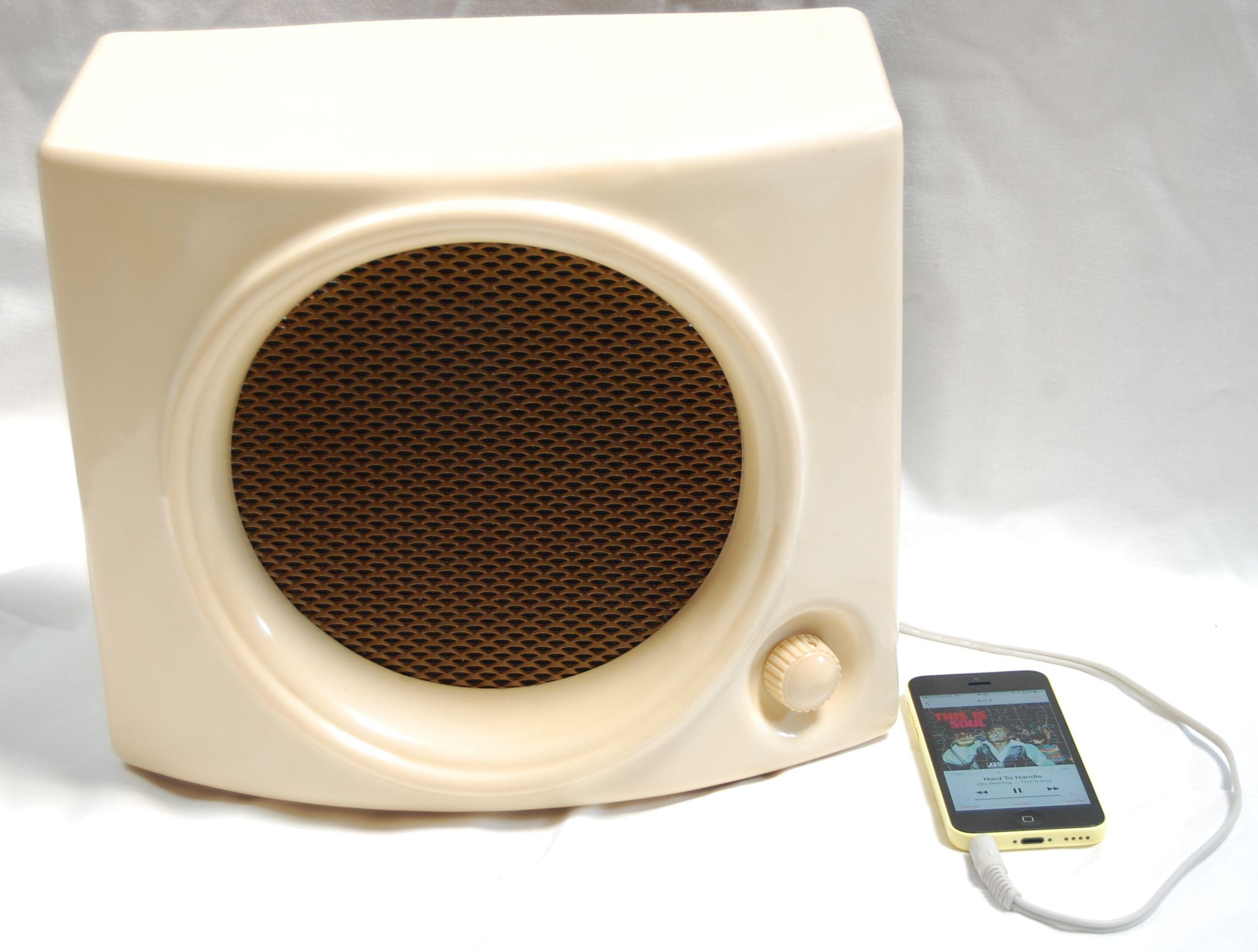 Funky & cool 1950s cream bakelite speaker, adapted for use