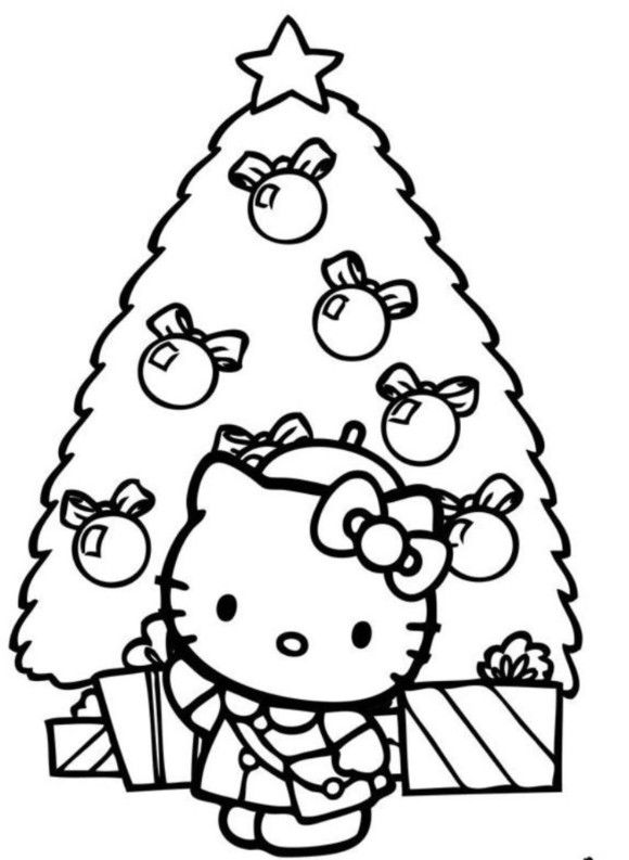 Coloring Pages Christmas Tree Hello Kitty