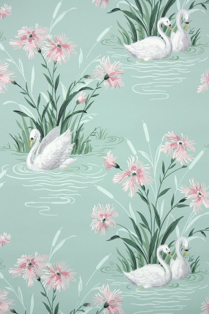 Vintage Bathroom Wallpaper With Swans And Pink Flowers