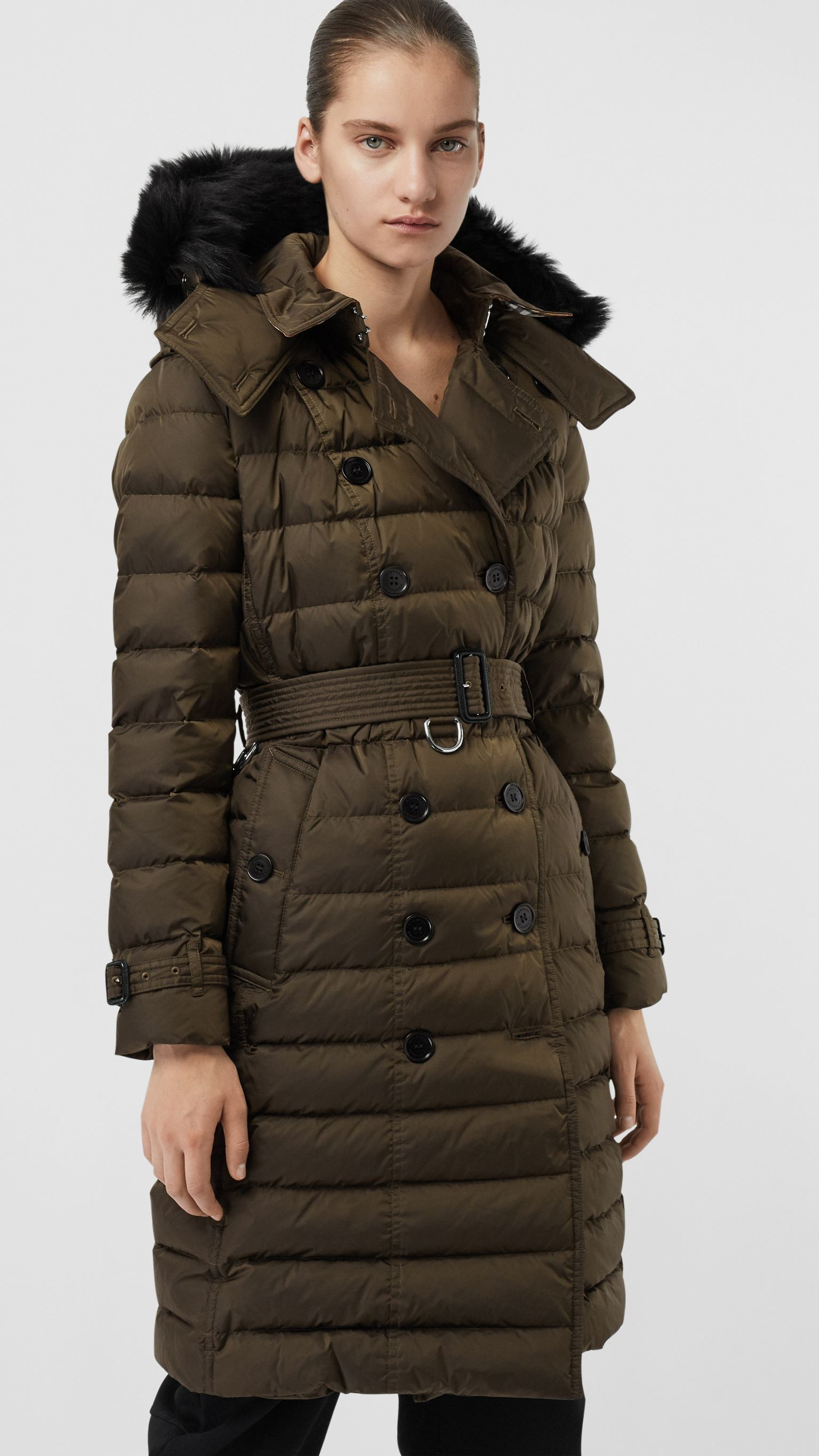 d0ea221c1563f1 Detachable Hood Down-filled Puffer Coat in Dark Olive - Women | Burberry  Canada