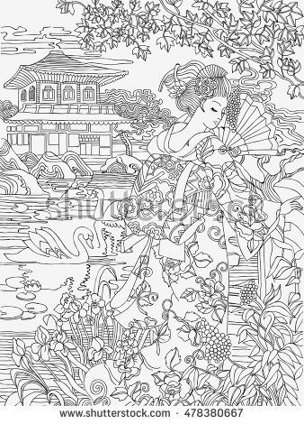 Coloring Pages Japanese Woman On A Background Of Conventional