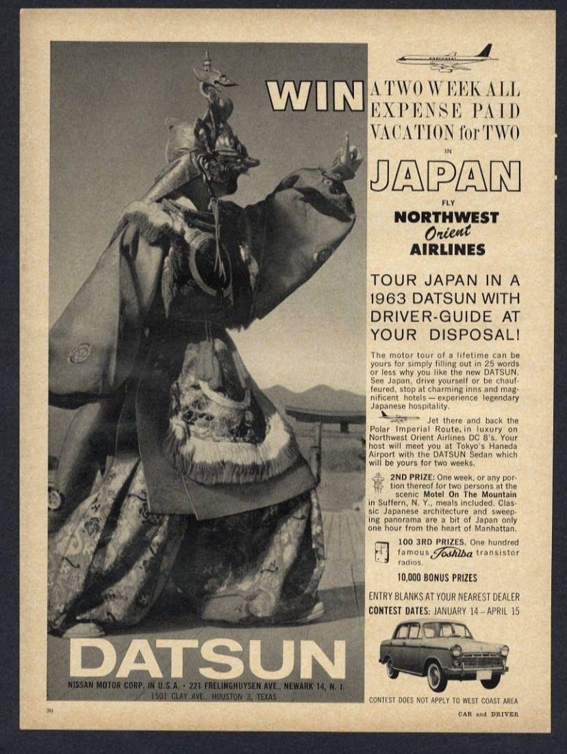 Details about 1963 Datsun Japan Car Airline Northwest Orient Vintage