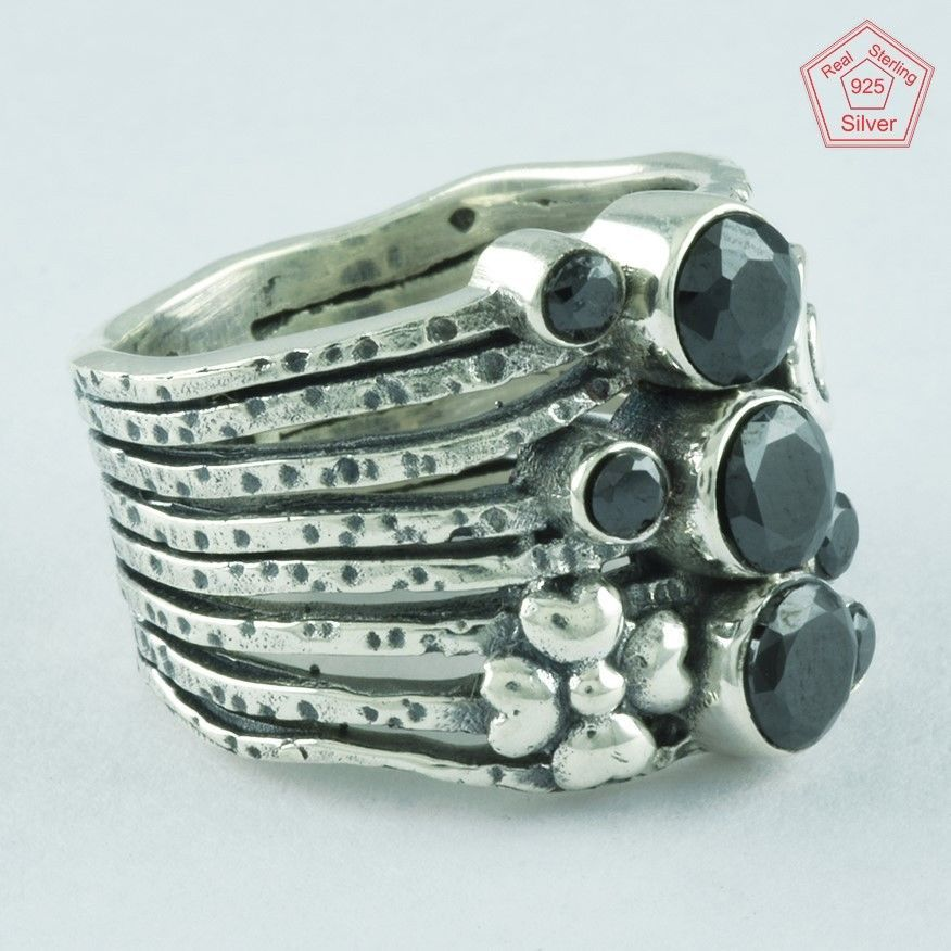 BLACK ONYX RING, 925 STERLING SILVER, BEAUTIFUL DESIGN RING R4988, SZ. 7.5 US #SilvexImagesIndiaPvtLtd #Statement #AllOccasion