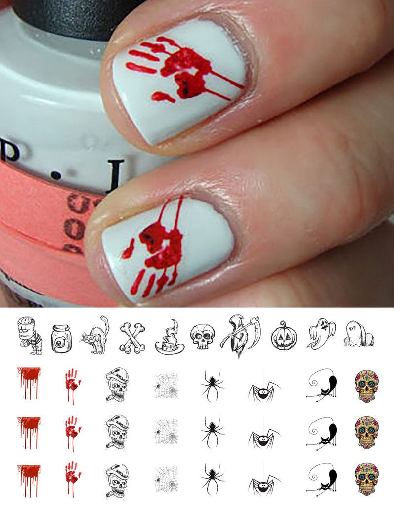 Halloween Nail Decals Set 1 34 Decals 5 1 2 X 3 Sheet Halloween Nails Halloween Nail Art Nails