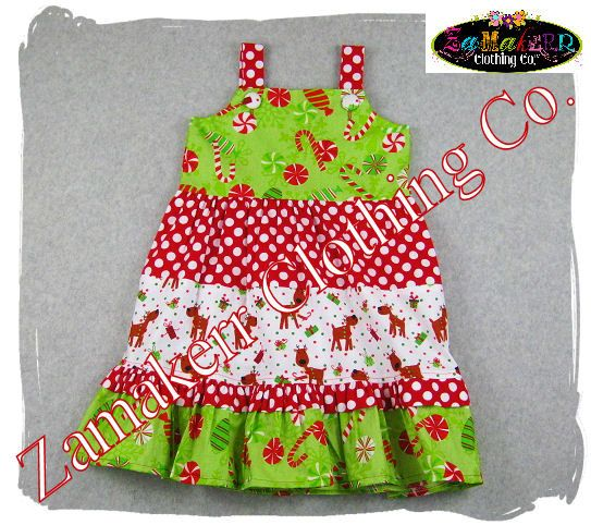 07fc155f2b6 Custom Boutique Girl Christmas Dress - Reindeer Santa Holiday Tiered Ruffle  Dress 3 6 9 12 18 24 month size 2T 2 3T 3 4T 4 5T 5 6 7 8