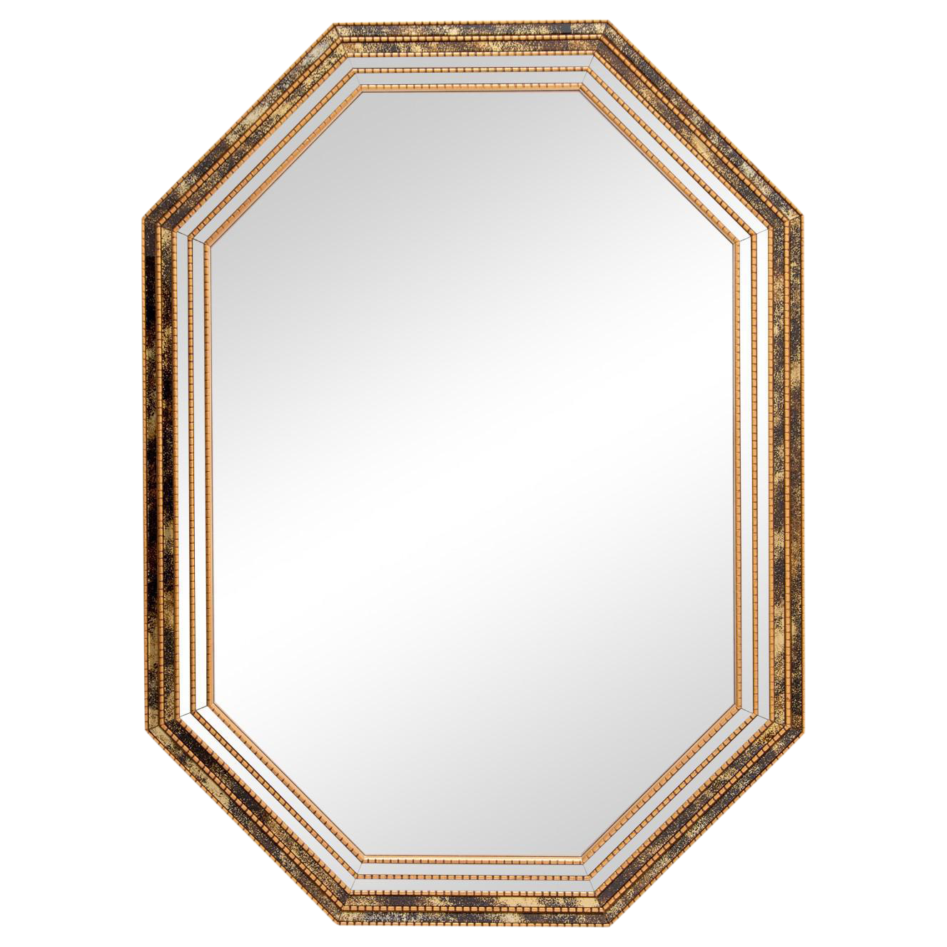 Octagonal Giltwood Mirror With Two Mirror Panels And Two Reverse Painted Outer Mirror Panels In Blac Framed Mirror Wall Antique Mirror Wall Lighted Wall Mirror