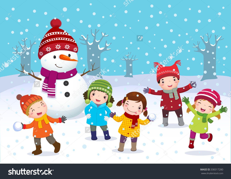 Illustration Of Kids Playing Outdoors In Winter 338317280 Shutterstock Kinderen Spelen Kind Tekening Kinderen Buiten Spelen