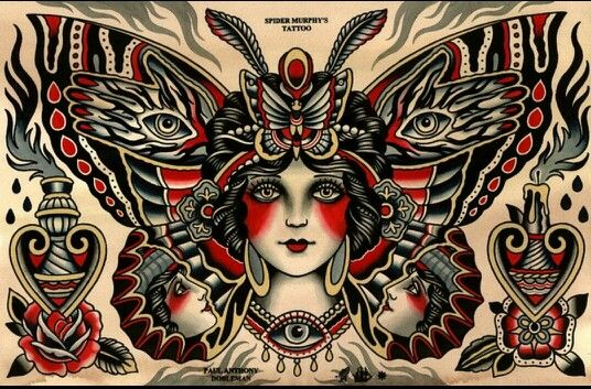 Traditional Lady Moth Tattoo Traditional Tattoo Art American Traditional Tattoo Traditional Tattoo