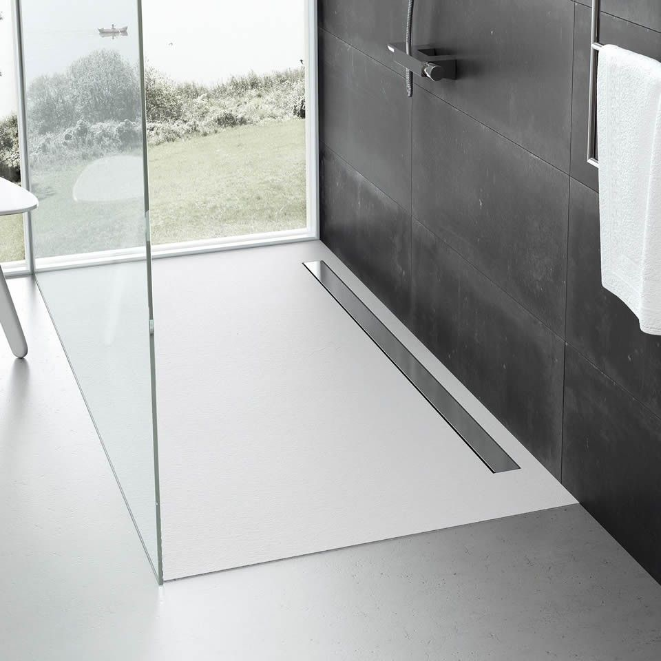 Fiora Elax Grey Slate Low Profile Linear Shower Tray 48 Sizes