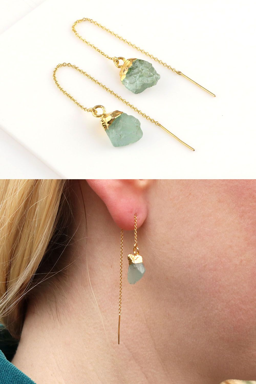 Raw Aquamarine Gemstone Threaders Gold Thread Earrings Raw Stone Earrings March Birthstone Earrings Aquamarine Threaders