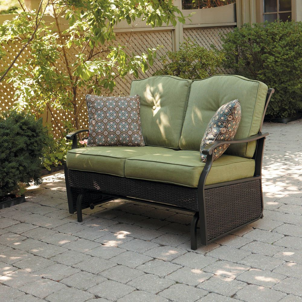 Providence Wicker Outdoor Loveseat Patio Furniture Glider Bench 2 Seats Green Betterhomesandgardens