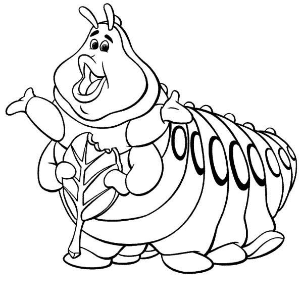 Heimlich Bugs Life Green Caterpillar Coloring Page Kids