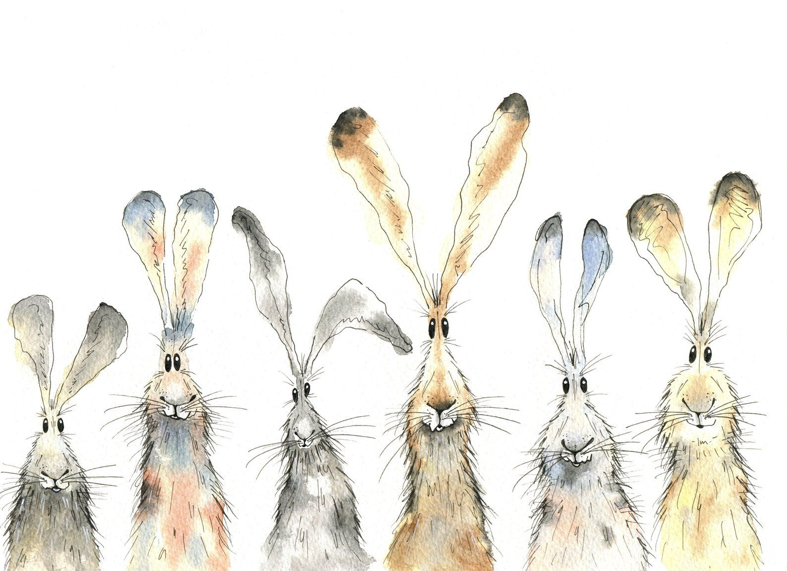 Hare print six hares print limited edition print | Etsy