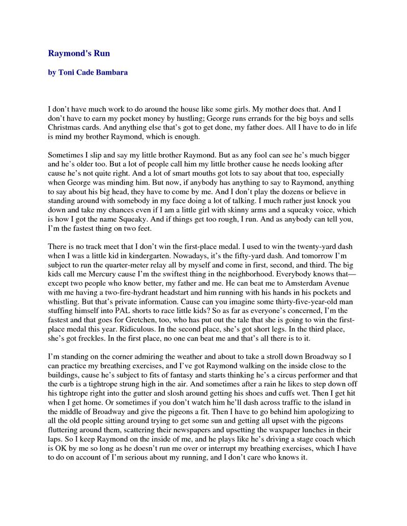 literary essay raymonds run