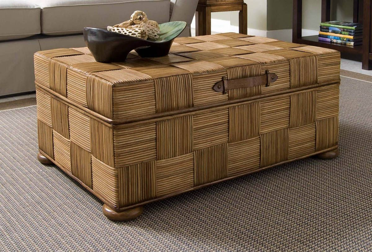 Unique Suitcase Like Coffee Table with Storage using Wicker