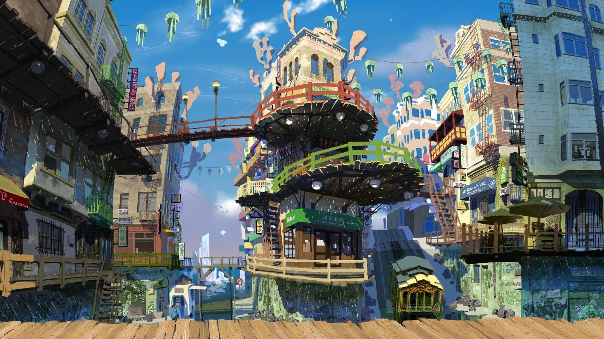 1920x1080 Anime City Hd Wallpaper 1920x1080 Id 22284 Wallpapervortex Com Anime Scenery Wallpaper Scenery Wallpaper Anime Scenery