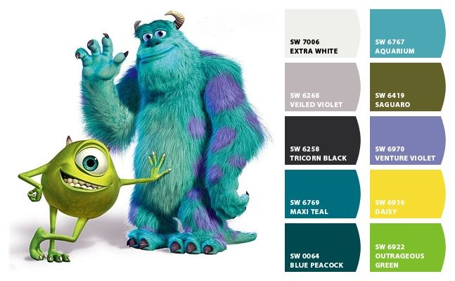 Monsters Inc Color Combinations Inspired By Disney Movies In