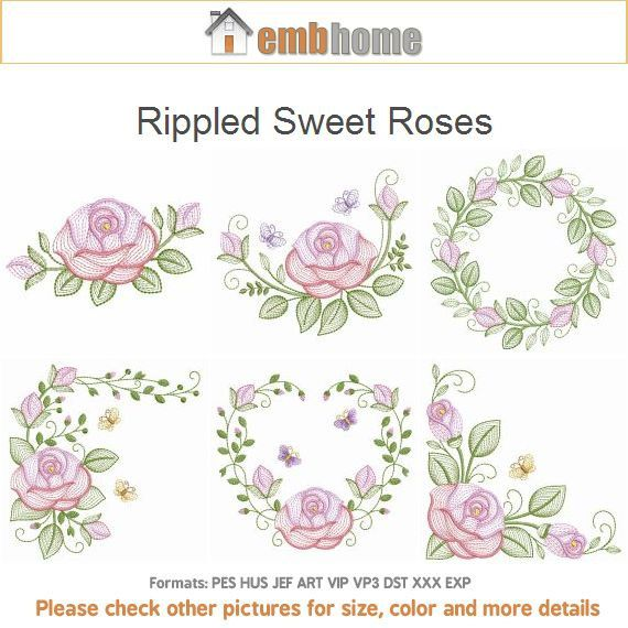Rippled Sweet Roses Flowers Valentine Love Machine Embroidery ...