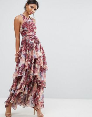 05a0c421d64 Y.A.S Studio Printed High Low Ruffled Tiered Maxi Dress