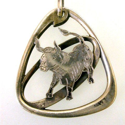 Vintage Mid Century Modernist Taurus Sterling Silver Pendant Watch Fob on Etsy, $85.00