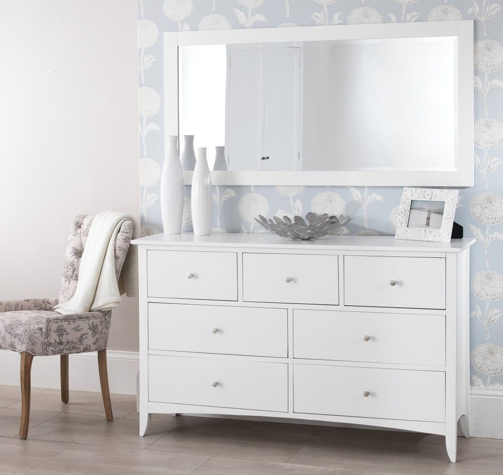 White 7 Drawer Dresser with Mirror | Dressing table with ...