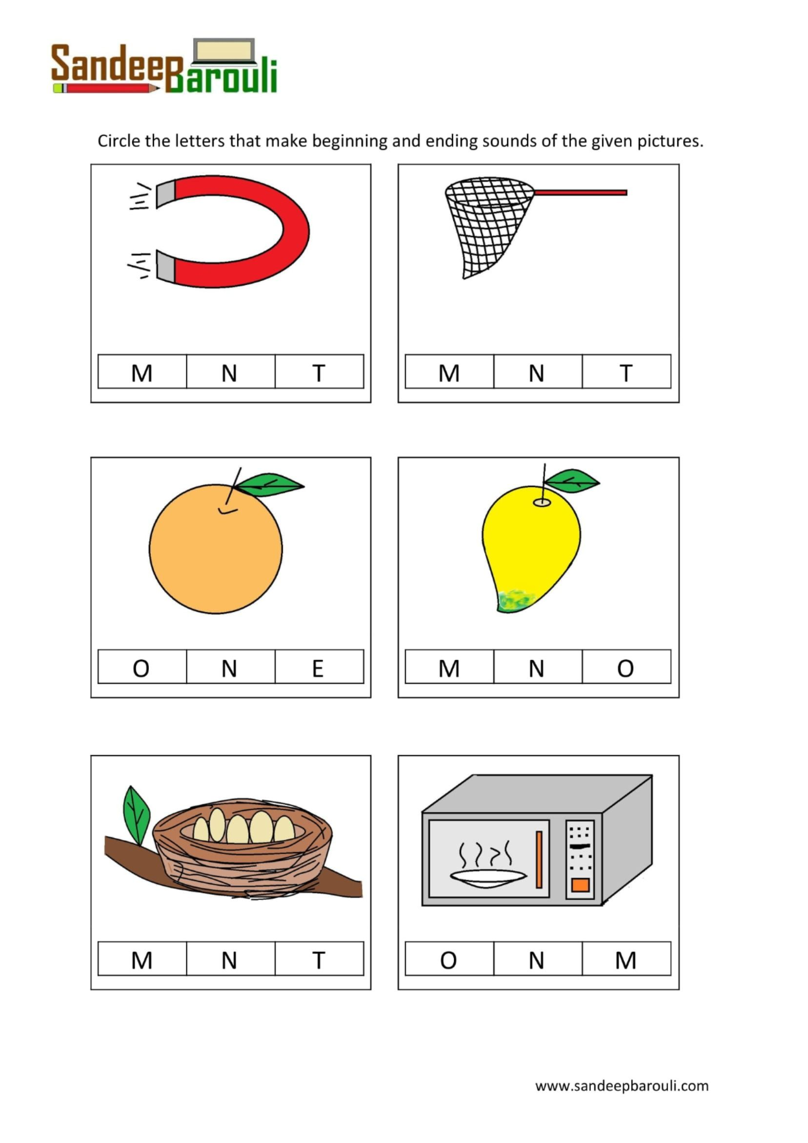 Circle The Letters That Make Beginning And Ending Sounds