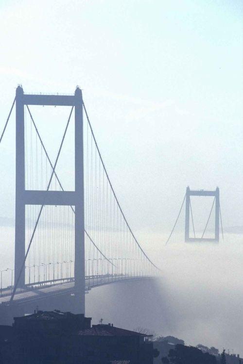 foggy bosphorus bridge ,istanbul