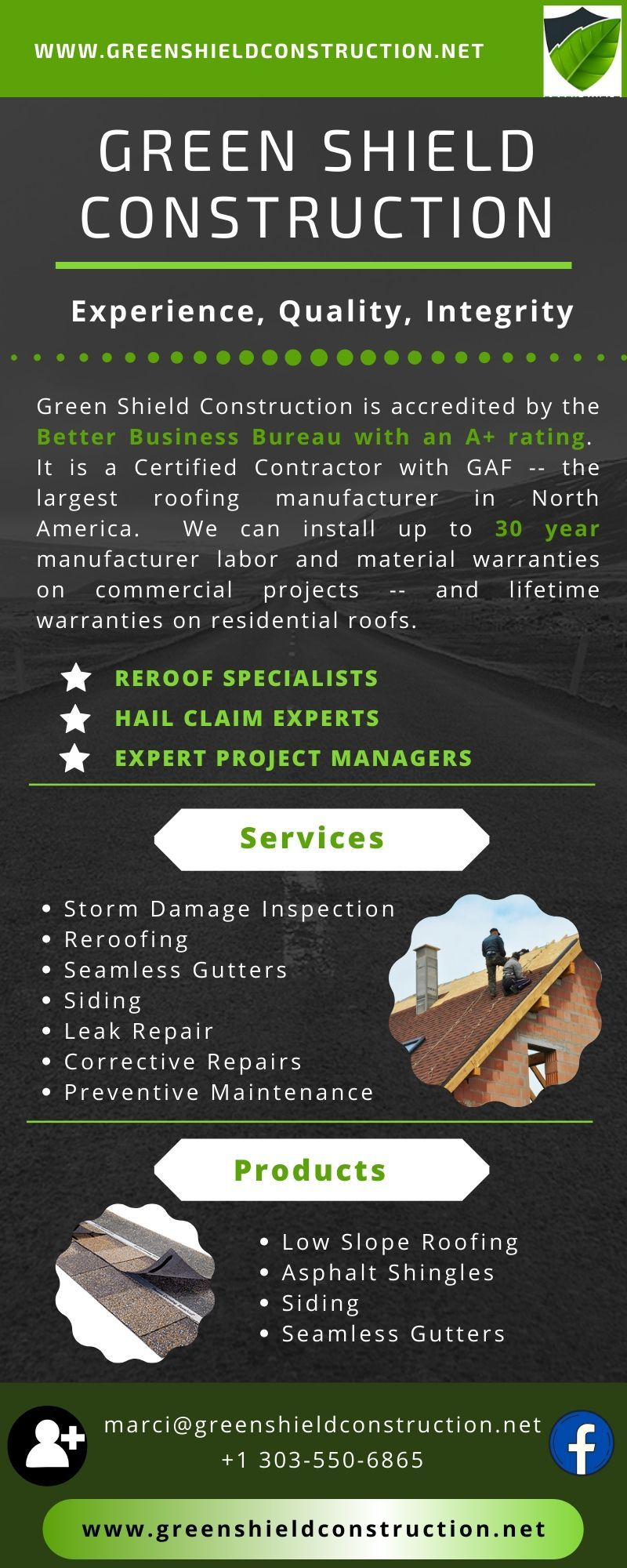 Get Full Roofing Services Colorado At One Place In 2020 Green Shield Roofing Services Cool Roof