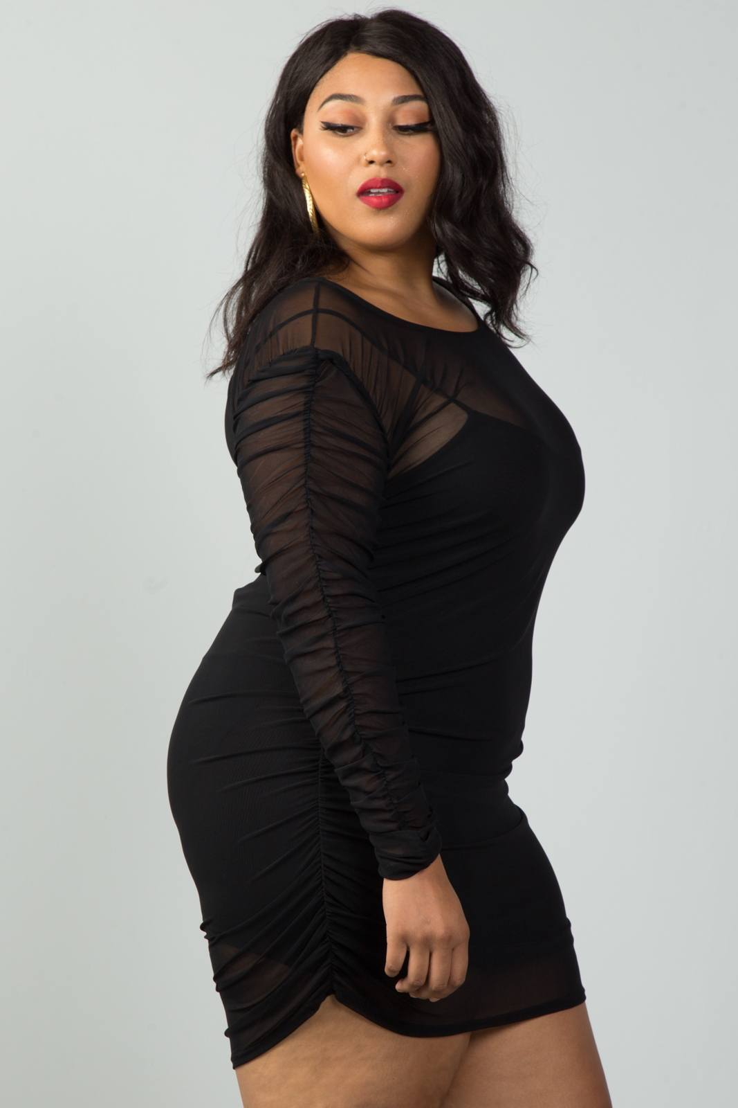 Plus size long sleeves sheer mesh ruched mini dress in 2019 | acccc ...