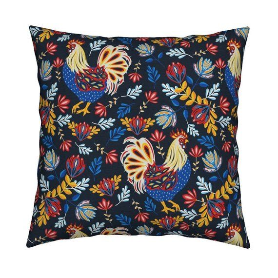 """Farm Animal Throw Pillow - French Rooster by lapetitelecour - Floral Folk Art  Rooster Farmhouse 18"""""""