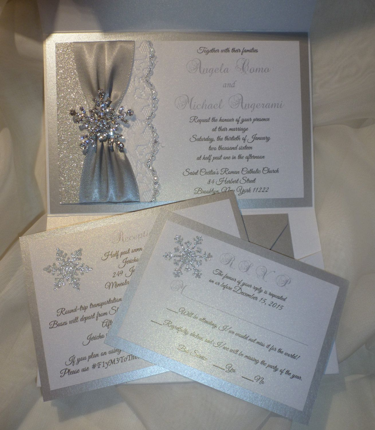WINTER Wedding Invitation Silver Glitter by TheRainbowColors                                                                                                                                                                                 More