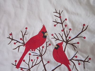 "SPLENDID HOME RED CARDINAL Embroidered CHRISTMAS HOLIDAY TREE SKIRT 54"" NEW"
