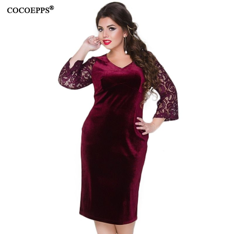 COCOEPPS 2018 Large Size Thicken lace Autumn Winter Women Velvet Dress L 6XL  Female Clothing Plus Size Red Tunic Dress Vestidos-in Dresses from Women s  ... 8a0ecf9b0ff5