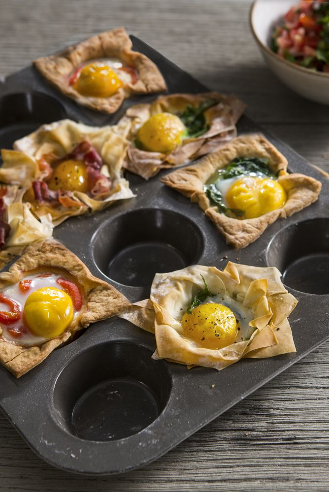 This simple, yet highly versatile recipe, makes a delicious brunch option. The cups work equally well with both filo and shortcrust pastry, so Sally has included instructions for both, as well as a few options for tasty fillings, such as spinach, Parma ham or roasted peppers. A spicy tomato salsa is the perfect accompaniment.