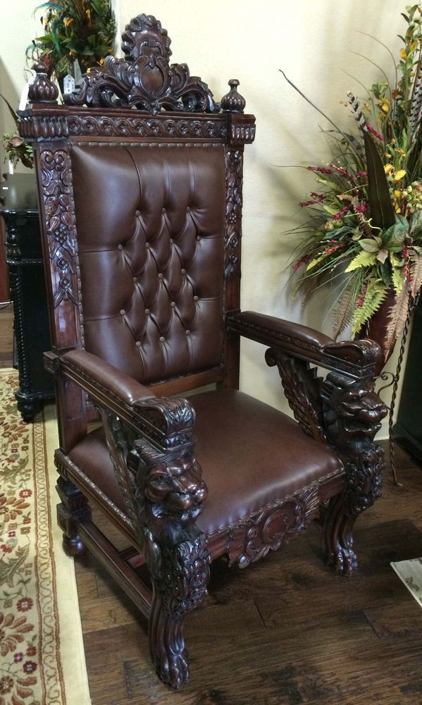 carved mahogany king winged lion gothic throne chair brown finish leatherette in home garden furniture chairs - Garden Furniture King