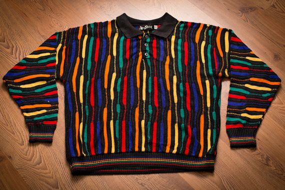 d0a8192bfbb67 Vintage 80s to early 90s Alan Stuart sweater with bright rainbow colors in  a Cosby style