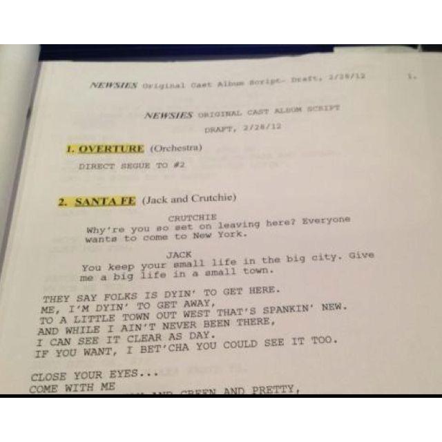 Newsies script | Broadway | Musicals, Broadway theatre