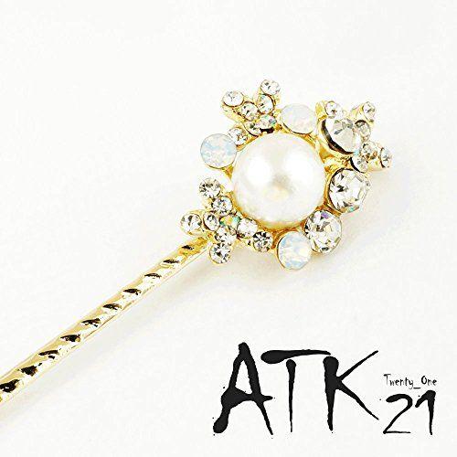 Atk21 一粒パール ビジュー フラワー ヘアピン 髪どめ 前髪 ヘア