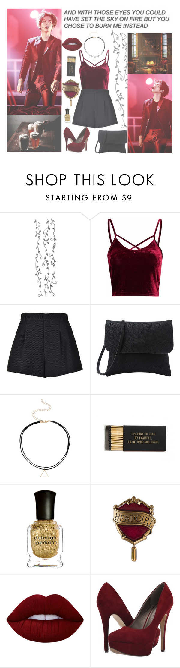 """***Gryffindor - Baekhyun***"" by milda-mint on Polyvore featuring Glamorous, RED Valentino, Jayson Home, Deborah Lippmann, Lime Crime and Michael Antonio"