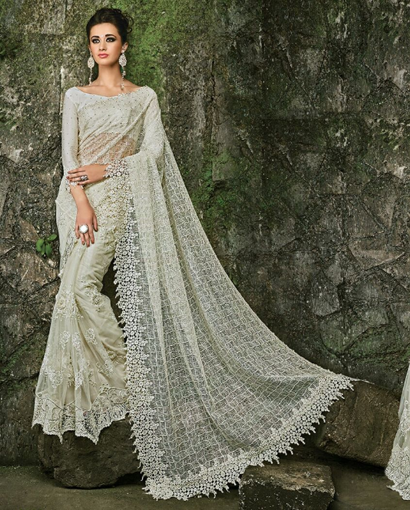 Wedding White Sarees Online: 1. Off White Mported Fabrics Pallu And Skirts With Heavy