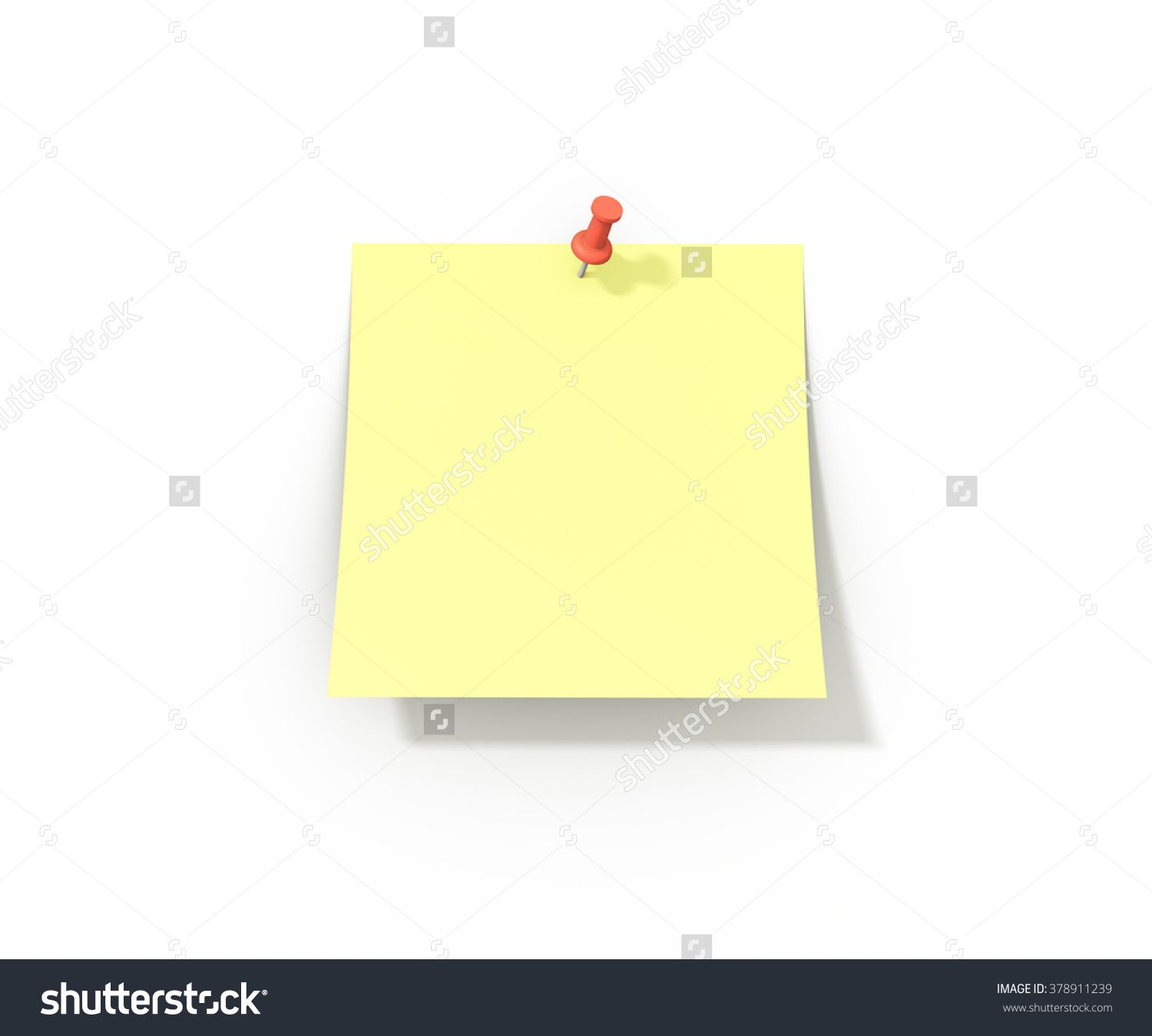 Sticky Note Illustration Blank Template With A Push Pin And Soft