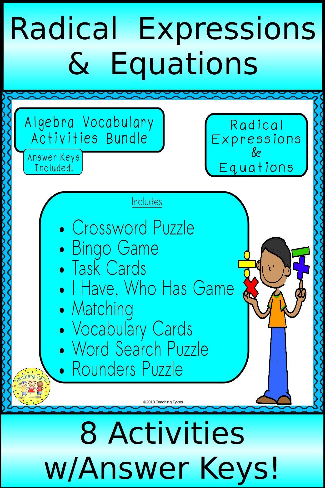 Radical Expressions And Equations Algebra Bundle