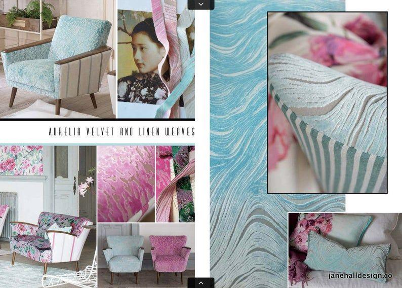 Designers Guild Fabric, Aurelia Aqua Blue, Cut Velvet, Upholstery Fabric, Jane Hall Design #velvetupholsteryfabric