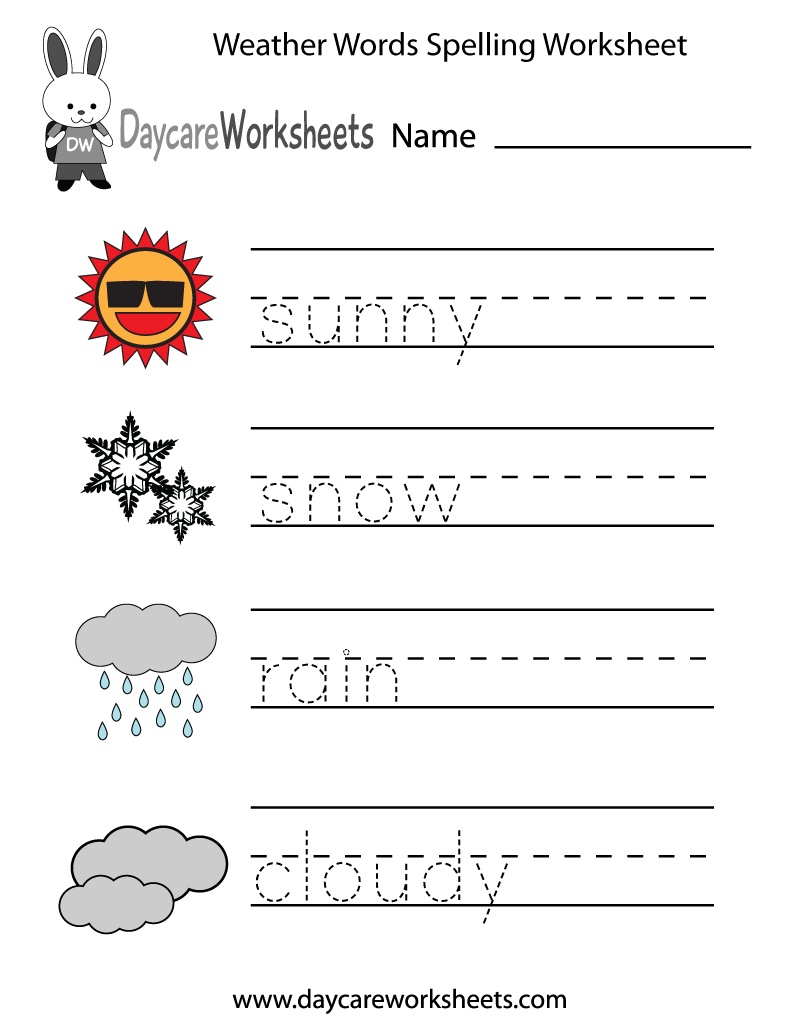 preschoolers will practice writing words that describe different weather conditions sunny snow. Black Bedroom Furniture Sets. Home Design Ideas