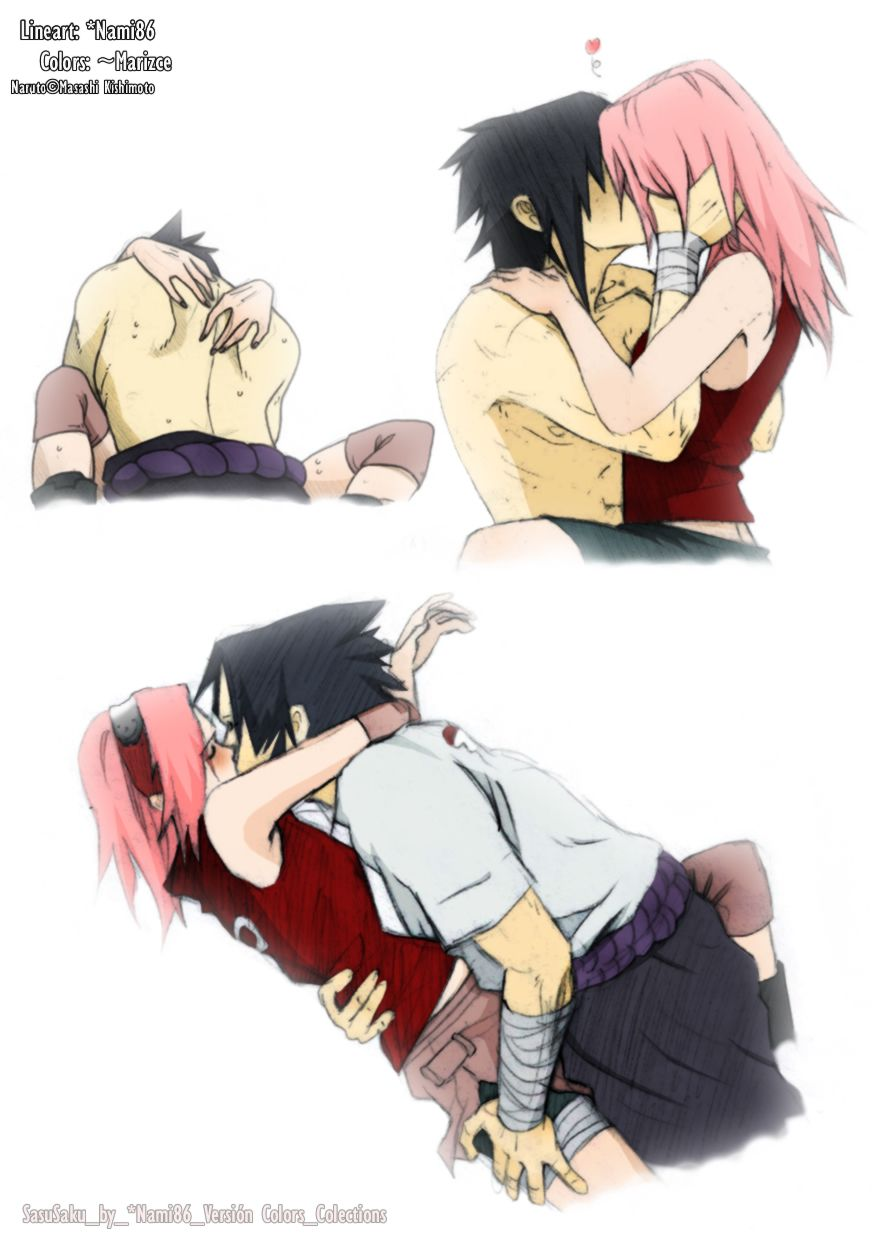 Sasusaku <3 [lineart by Nami86; color by marizce]