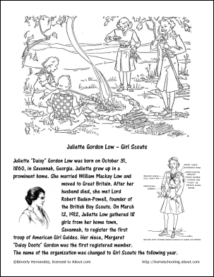 juliet gordon low printable history coloring page