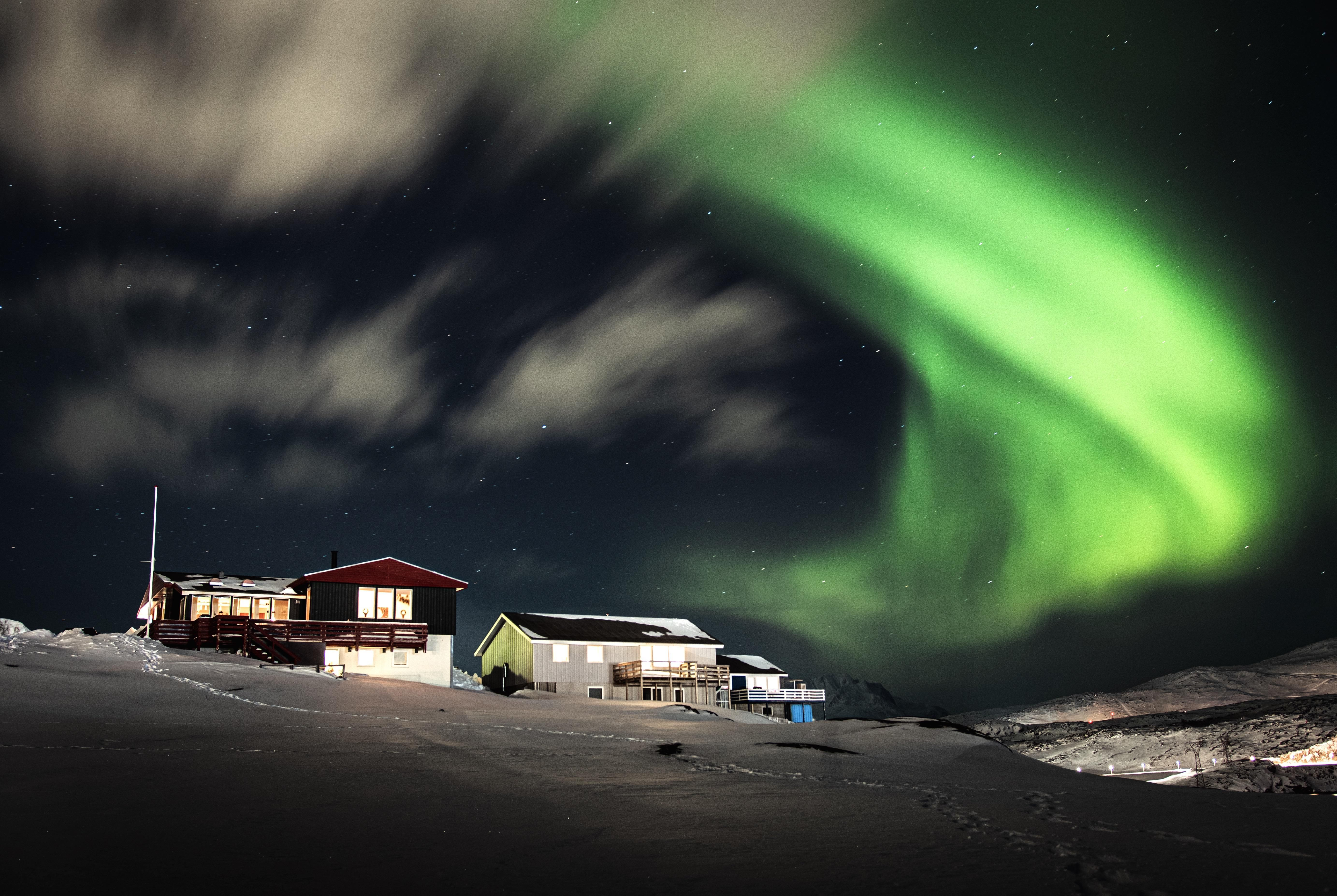 I live in Greenland Nuuk and this is my childhoodhome the northern lights this weekend was a show!