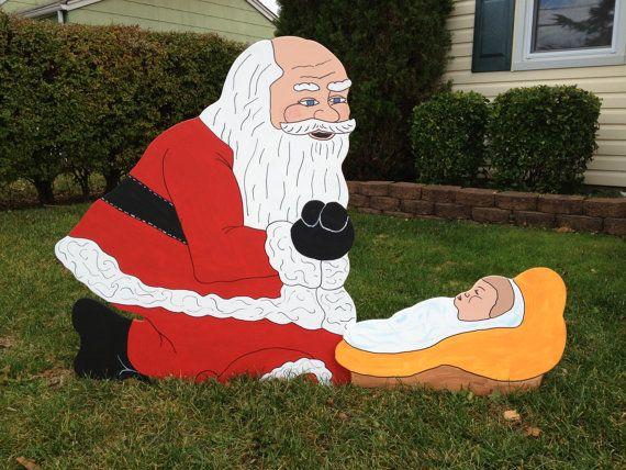 Santa Claus Kneeling Over Baby Jesus Handmade Wooden
