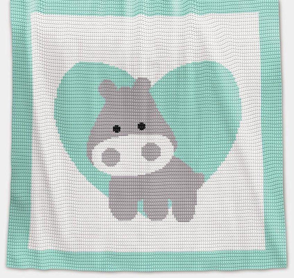 CROCHET Baby Blanket - Love Hippo Crochet pattern by Pattern World #c2cbabyblanket